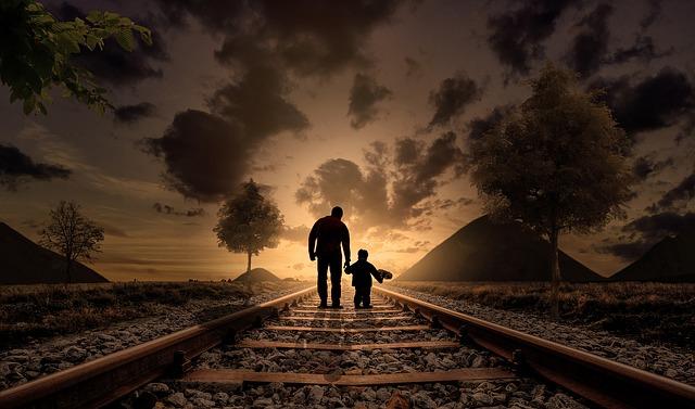 אבא וילד, פסי רכבת, שקיעה