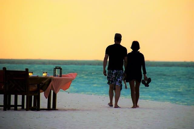 שקיעה, זוג, חוף