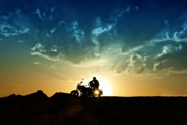 נוף, רוכב אופנוע, שמיים