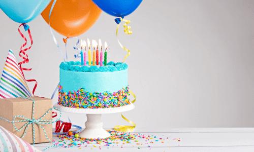 עוגת יומהולדת, מסיבה, בלונים